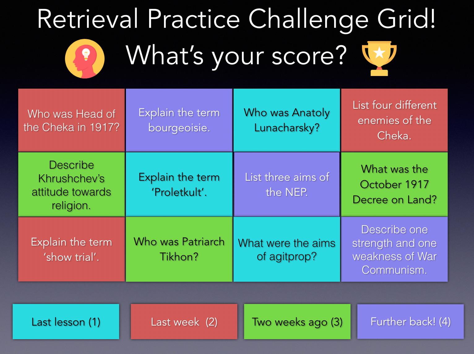 Retrieval practice grid